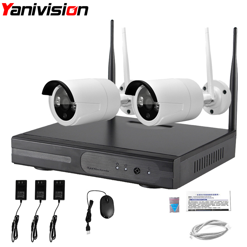 Home Security CCTV Camera System 2 Camera Kit Wireless P2P HD 720P 20m IR Night Vision Waterproof Wifi Camera Surveillance Kit