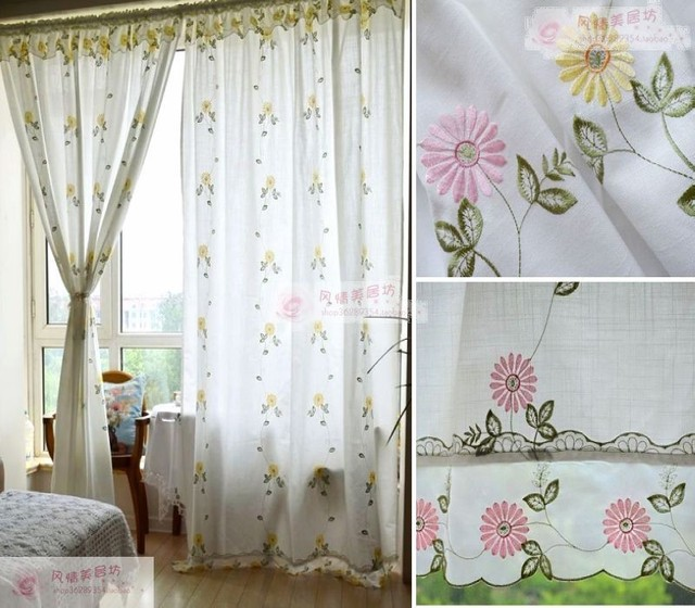 Cotton And Linen Double Laciness Inlaying Embroidered Curtain Living Room  Finished Curtain 175*180cm Yellow