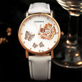 2016 Butterfly Fashion Watch Floarl Leather Ladies Watch Women Watches Hour Clock montre femme relogio feminino reloj mujer