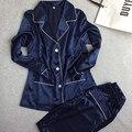 Mujer de Encaje de Seda ropa de Dormir Pijamas Conjuntos de Satén Primavera Otoño Ocio Loungewear Pijama de manga Larga azul marino Conjunto de Todas Las Estaciones