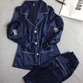 Mulheres Rendas de Seda Sleepwear Conjuntos de Pijama de Cetim Primavera Outono Longo-sleeved Pijama Lazer Loungewear Conjunto azul marinho Todas As Estações