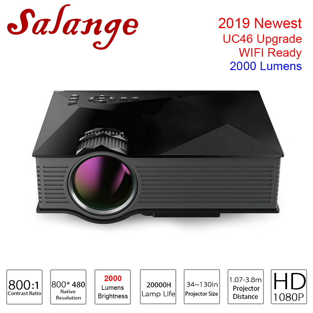 Salange UC68 2000 Lumens Projector UC46 Upgrade Video Projector 800x480 WIFI Support Miracast LED Proyector Home Cinema