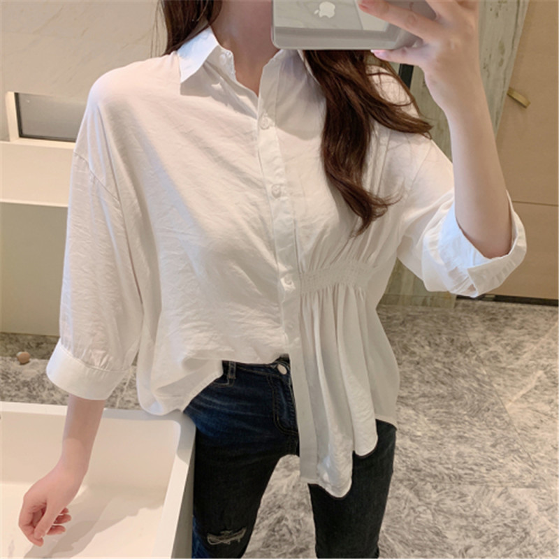 2019 Summer New Korean Version Of The Wild Long Paragraph 7 Points Sleeves Waist Loose Thin Temperament White Shirt Women (14)