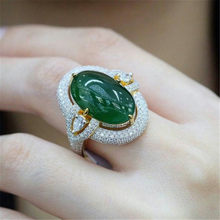 Luxury Dark Green Stone Ring Silver Gold Color Ring White Crystal Rings For Women Girl Anniversary Holiday Jewelry Anillos Mujer(China)