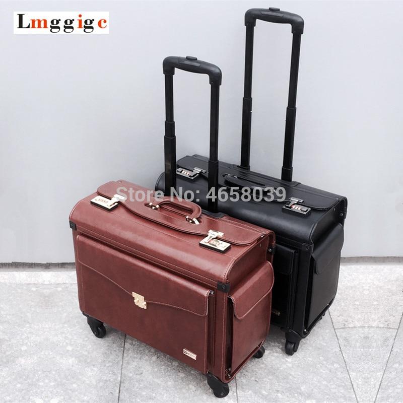 Universal Wheel Flight Attendant Cabin Luggage Bag,New Pilot PU Rolling Travel Suitcase ,19