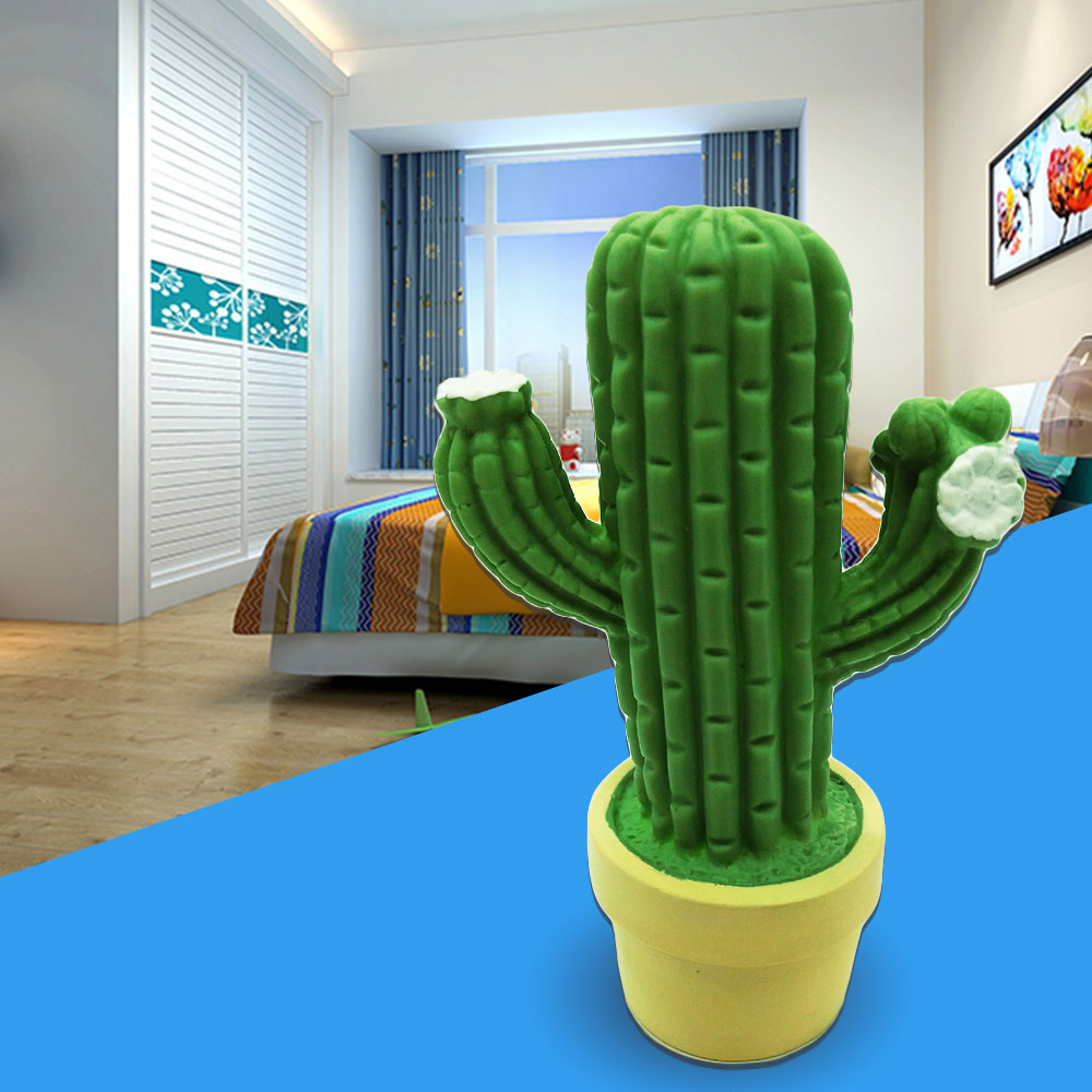 Mabor Luminaria Cactus LED Night Light Cartoon PVC Sleep Lamp Bedroom Green Steady Bright Decor colorful waterdrop cartoon ombre led night light