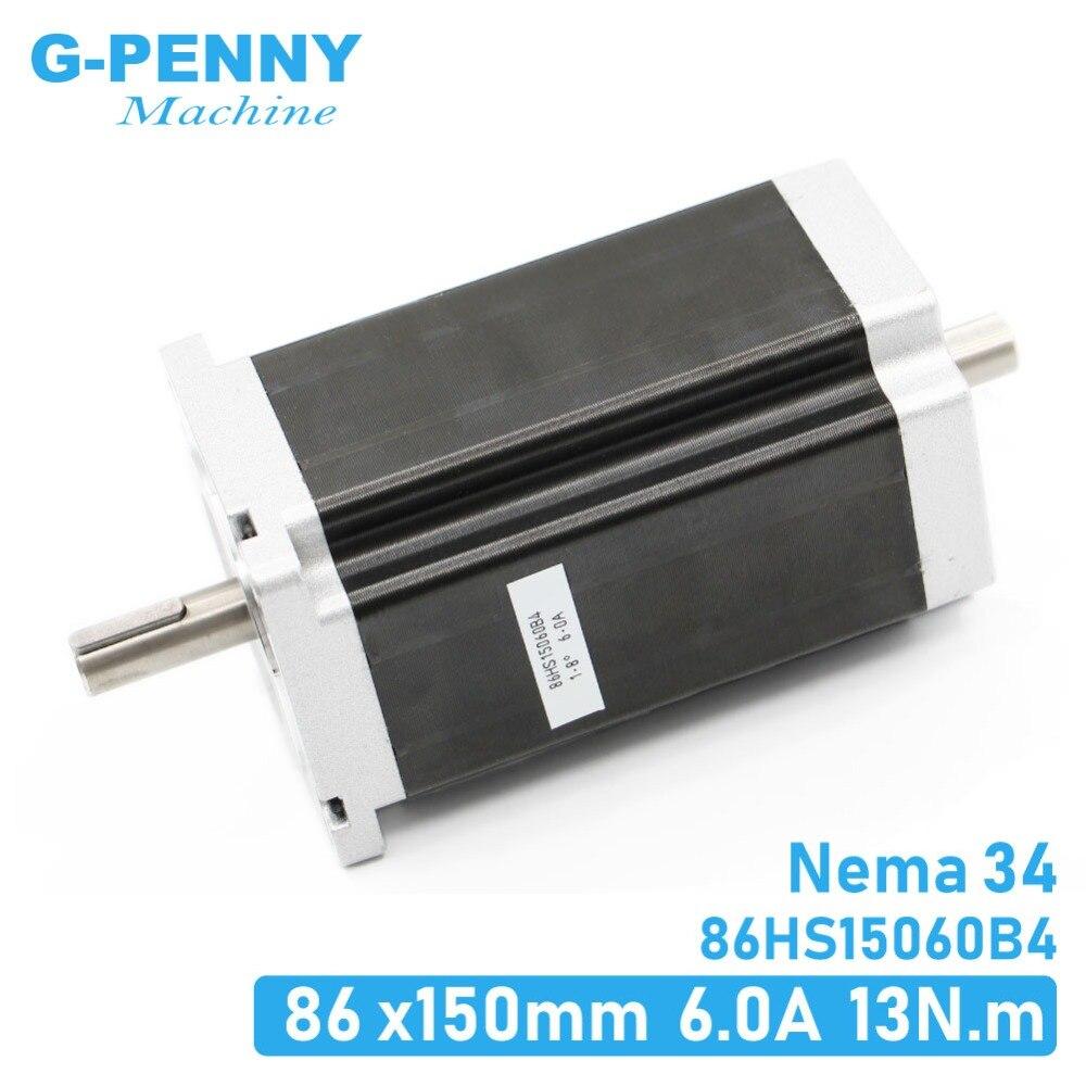 NEMA 34 86X150 milímetros duplo eixo CNC stepper motor 13 N. m 6A 1700Oz-in para CNC máquina de gravura do cnc stepping motor 3D impressora!