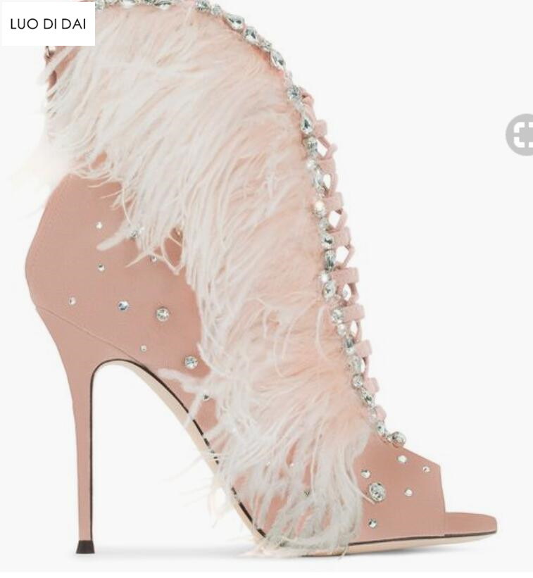 a8f7cd4ac 2019 New sexy ladies peep toe boots gladiator sandals summer boots lace up  pink booties diamond stud botas feather boots women