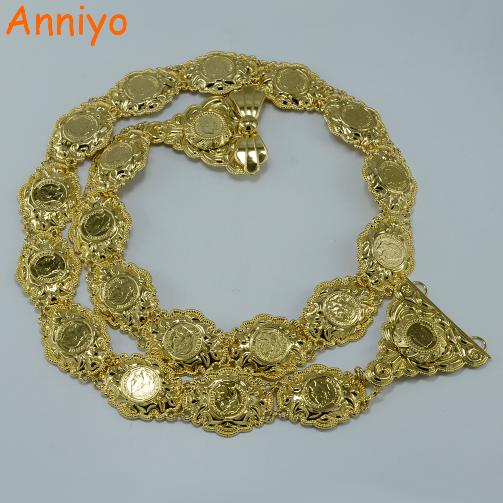 Anniyo Metal Coin Belt for Women Belly Chains Jewelry Gold Color Arab Wedding Gift Middle East Napoleon Coins #000712 anniyo wholesale coin bracelet for women arab chain middle eastern gift gold color coins jewelry middle eastern wedding 048006