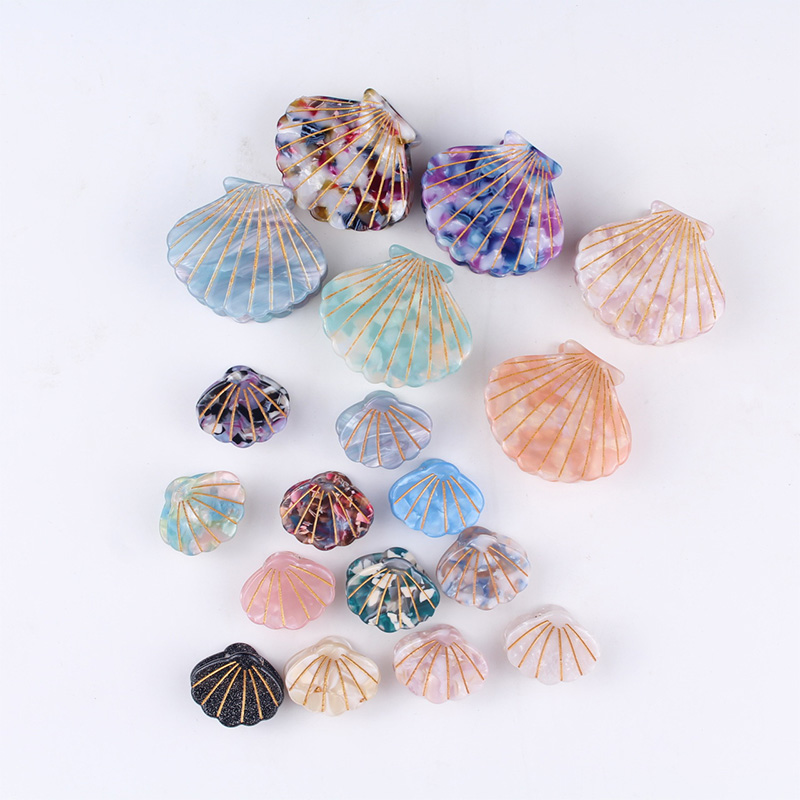 New Fashion Women Shell Hair Claws Clip 1PC Acetate Resin Floral Print Grips Ponytail Hairpins Hair Clips
