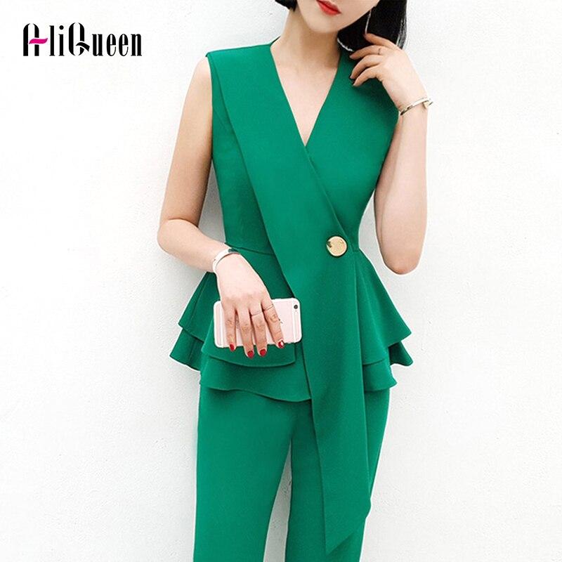 Office Ladies Two Pieces Set Women 2019 Summer Green Black Korean Fashion V neck Ruffle Shirt Femal Work Professional Pants Suit