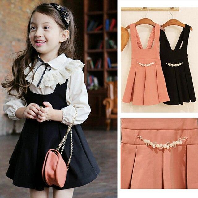 0779e1d215 Pink+ Black Autumn Girls Princess Dress Suit Coat + Pearls Cute Baby Girl  Party Dresses Elegant Children s Clothes
