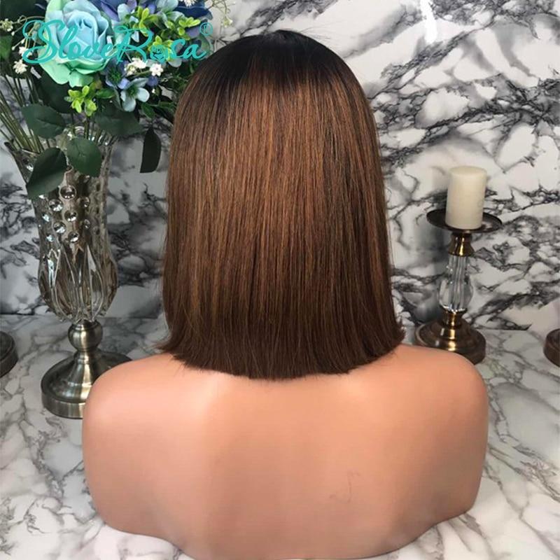 HTB1jAHCJeOSBuNjy0Fdq6zDnVXaR 13X4 Short Bob Wigs 1B/30 130% Density Lace Front Human Hair Wigs Brazilian Remy Hair For Black Women Bleached Knots Slove Rosa