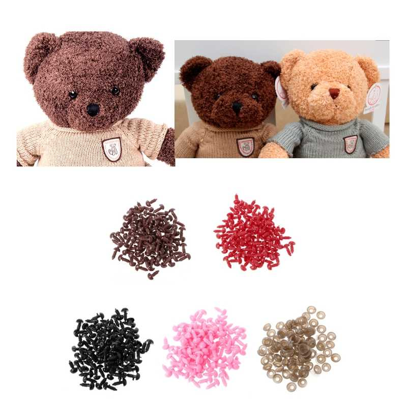 100Pcs Triangular noses/Pads Plastic Safety Triangle Velvet Noses For Animal Puppet Teddy Bear Doll