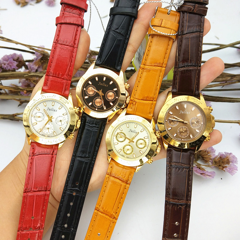 Real Multi-functions Julius Women's Watch ISA Quartz Hours Fine Fashion Dress Bracelet Sport Leather Birthday Girl's Gift Box real functions women s watch isa mov t hours clock fine fashion dress bracelet woman sport leather birthday girl gift julius box