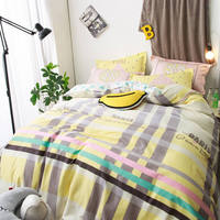 cartoon yellow brown stripe bedding sets heart bedclothes queenfull sizes coverlets 45pc