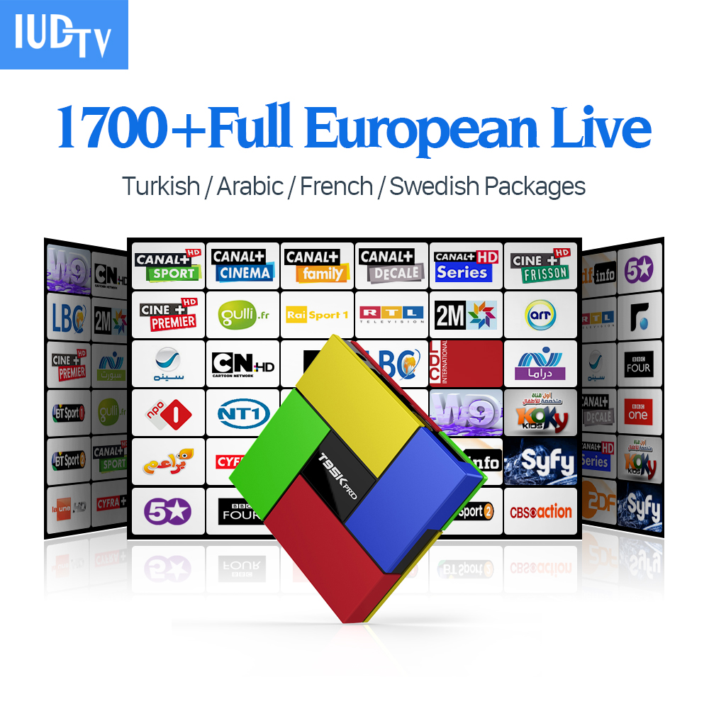 Arabic IPTV Box T95Kpro 1700 Europe French IPTV Channels S912 2GB 16GB Smart Android TV Box H.265 Movie Support Sweden IPTV Box