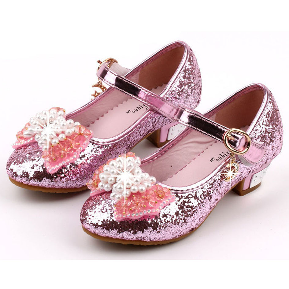 Kids Girls High Heels 2017 Glitter Flower Girl Wedding Shoes For ...