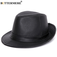 BUTTERMERE Black Fedoras Men Winter Luxury Brand Hat Jazz Caps Male Real Cowhide Leather Retro Solid Classic Casual Pork Pie Hat