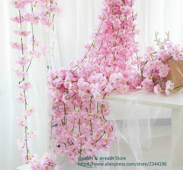 200cm Sakura Cherry Rattan Wedding Arch decoration Vine Artificial flowers Home party decor Silk Ivy wall Hanging Garland Wreath