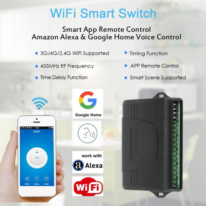 WiFi Smart Switch Smart 433MHz RF Smart Home Automation Module APP Remote Multiple Control Timing Schedules Scene Switches dc 12v led display digital delay timer control switch module plc automation new