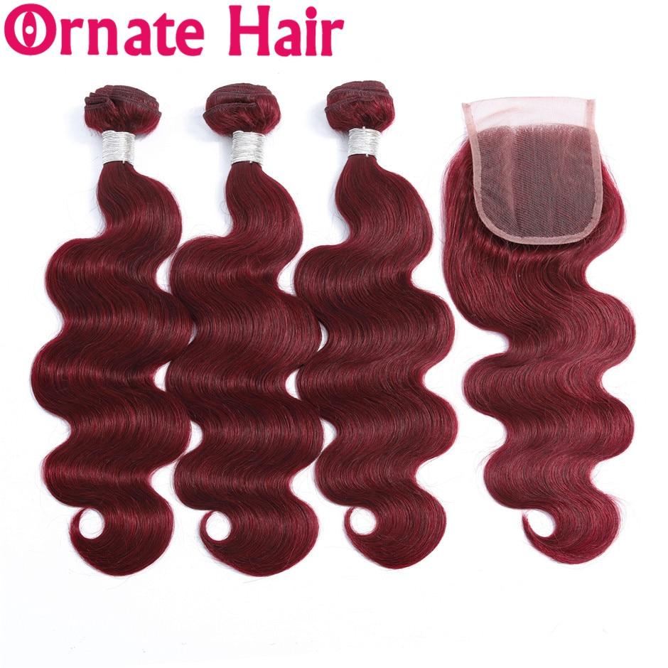 Ornate Hair Bundle With Closure Brazilian Body Wave Human Hair Bundle With Closure 99J Burgundy 4x4