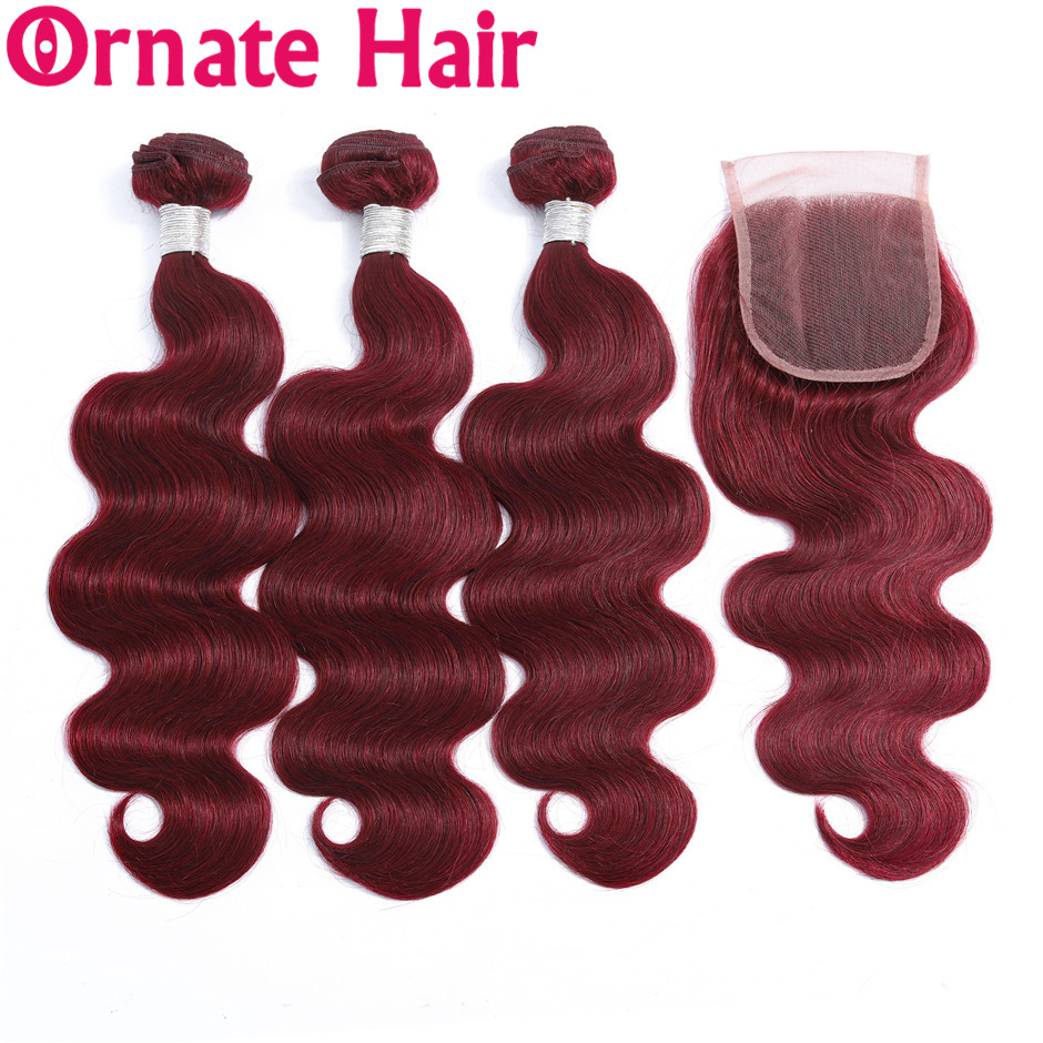 Ornate Hair Bundle With Closure Brazilian Body Wave Human Hair Bundle With Closure 99J/Burgundy 4x4 Closure With Bundle Non Remy