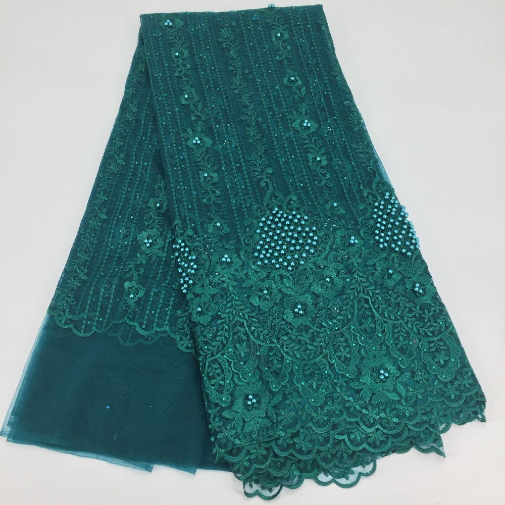 2018 last design High quality nigerian french mesh lace african lace fabric for party dress 5yards