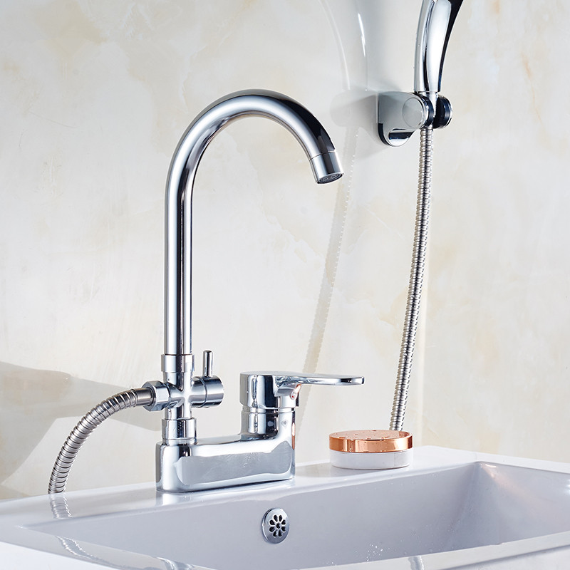 Bathroom Basin Faucet With Shower 360 Swivel Spout Basin Mixer with diverter valve For Bathroom Brass
