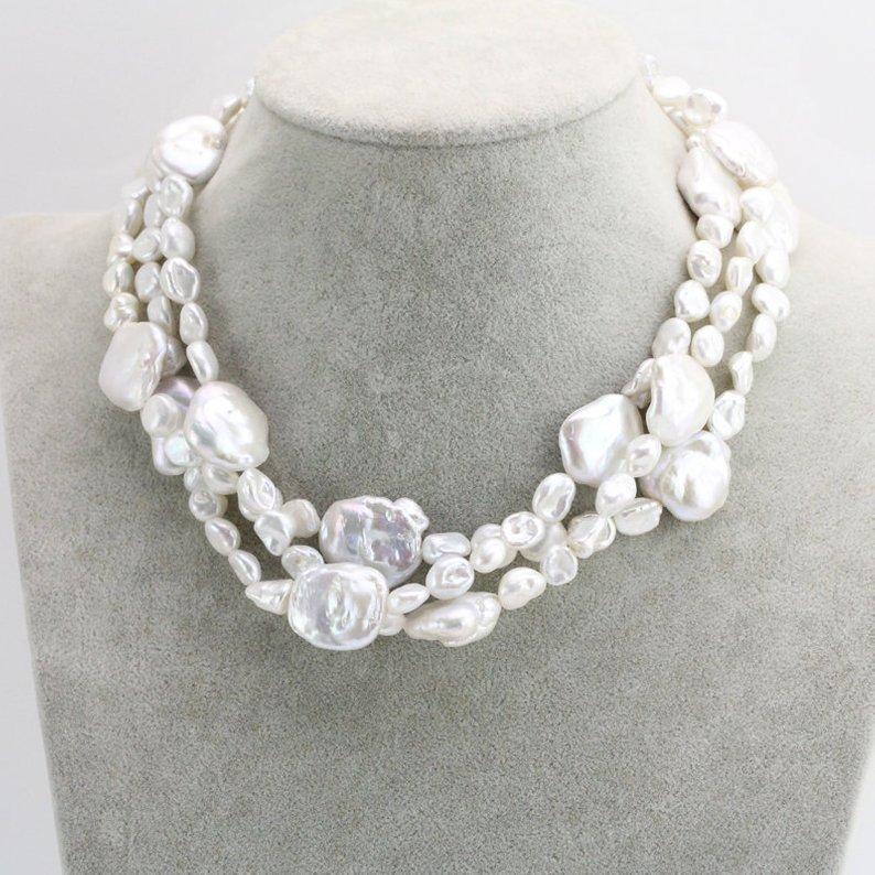 Nouveau collier de perles baroques Arriver, bijoux de perles multi-brins, couleur blanche perle d'eau douce Neclace, cadeau de demoiselle d'honneur charmante