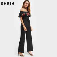 SheIn Summer Jumpsuit 2017 Sexy Elegant Balck Short Sleeve Embroidered Flower Patch Flounce Off Shoulder Belt