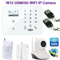 Wi Fi IP Камера Android IOS APP Беспроводной GSM/3G сигнализации дома Системы Smart gsm Камера охранной сигнализации sms удаленный Мониторы w12f