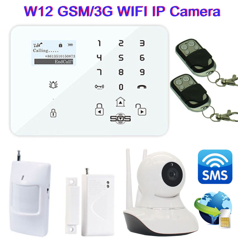 Wifi IP Camera Android IOS APP Wireless GSM/3G Home Alarm System Smart GSM Camera Burglar Security SMS Alarm Remote Monitor W12F kerui w2 wifi gsm home burglar security alarm system ios android app control used with ip camera pir detector door sensor