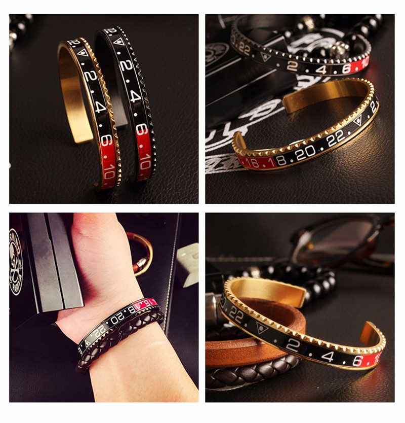 Louleur 18 Italian Style New 316L Stainless Steel Cuff Bracelet Bangle Men Women Speedometer Bracelet Open Bangles Jewelry 6