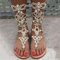Лидер продаж Для женщин золото PU Кожа Bling кристально украшен сандалии летние открытые Молния сзади богемный Стиль обувь на плоской подошве