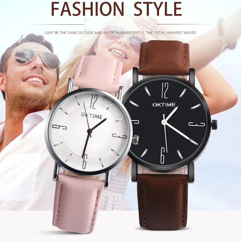 New Lovers Watch Men Woemn Clock Fashion Simple Quartz Watch Couple Retro Design Leather Band Analog Alloy Wristwatches Relogio