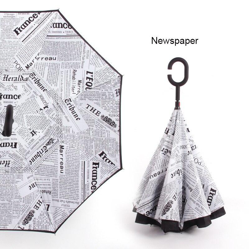 C ручкой ветрозащитный обратный складной зонтик для мужчин и женщин Защита от солнца дождь автомобиль перевернутый Зонты Двойной слой анти УФ Самостоятельная стойка Parapluie - Цвет: newspaper