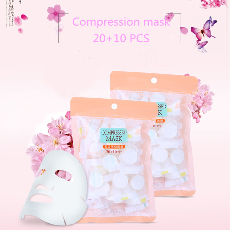 Hot 30 PCS Compressed Face Mask Paper Disposable Facial Masks Papers Natural Skin Care Wrapped DIY Women Makeup Face Beauty Tool