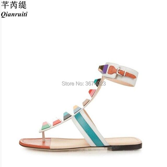 cadcaf60 Qianruiti Women's Sandals Multicolored Spikes Embellished T-strap Flats  with Rainbow Plexiglass Studs Sandy Sandalia Feminina