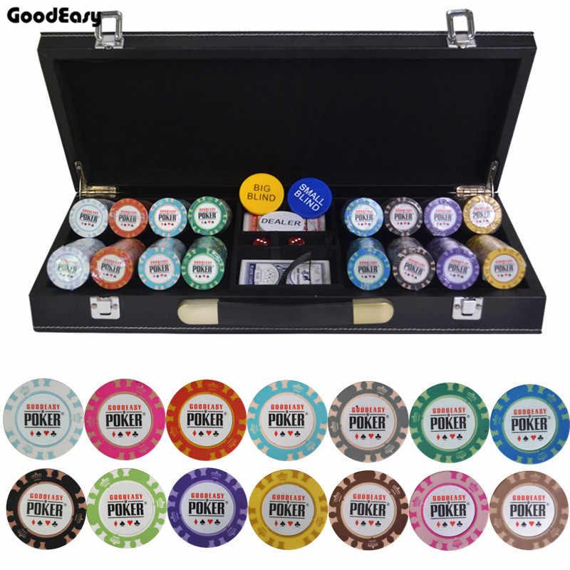 200/300/400/500 шт./компл. казино Корона складной покерный набор микросхем Техасский Холдем баккара чипов с защитный кожух кожаный чемодан и Скатерти