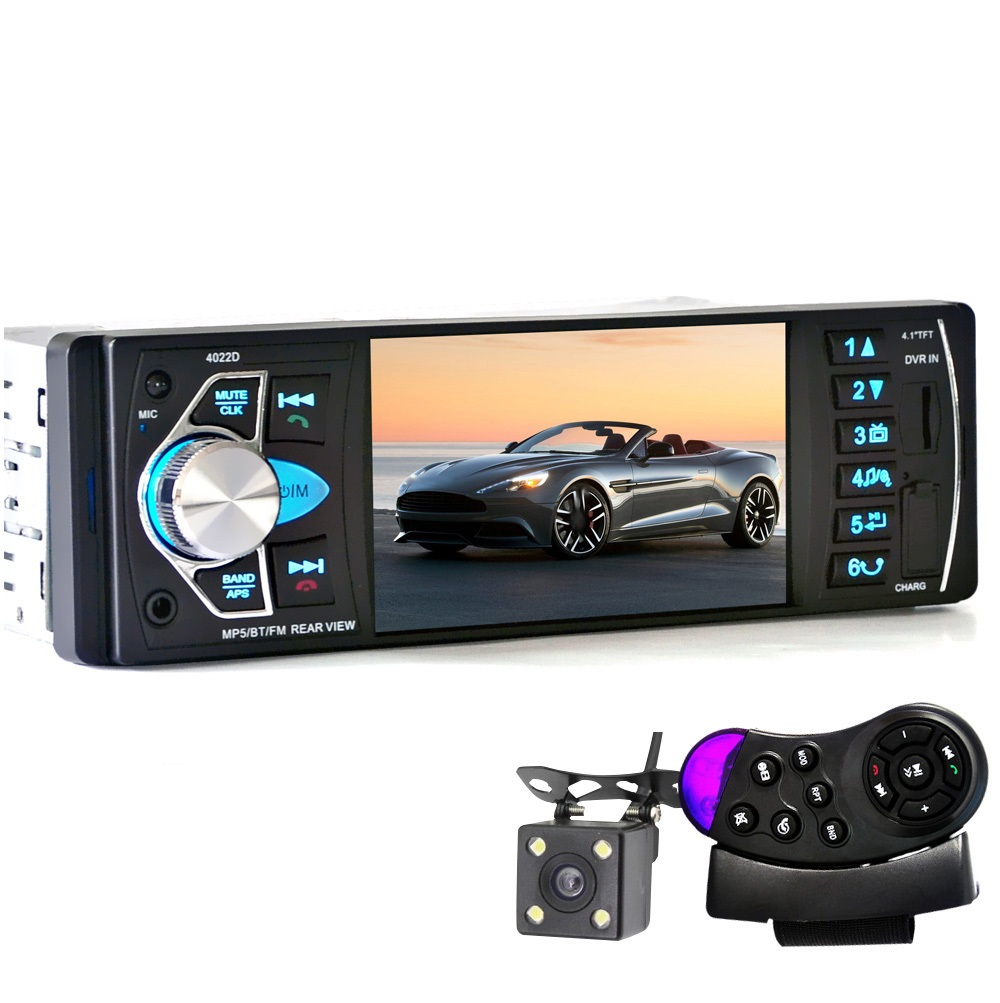 4022D 4.1'' Car MP5 Player Bluetooth TFT Screen Stereo Audio FM Station Auto Video with Remote Control Equipped Rearview Camera car mp5 player with rearview camera gps navigation 7 inch touch screen bluetooth audio stereo fm function remote control