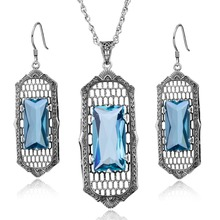 Fashion Austria Crystal Long Earrings Pendant Sets 925 Sterling Silver Women Bridal Retro Classic Wedding Romantic Jewelry Set