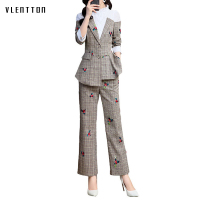 Spring Vintage Women's Pant Suits Irregular Print Spliced Blazer & Pencil Trouser Female Two Piece Sets Long Sleeve Office Suit