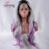 Synthetic Lace Front Wig Dark Root Ombre Black/Silver/violet Long Wavy Synthetic Glueless Wigs For Women