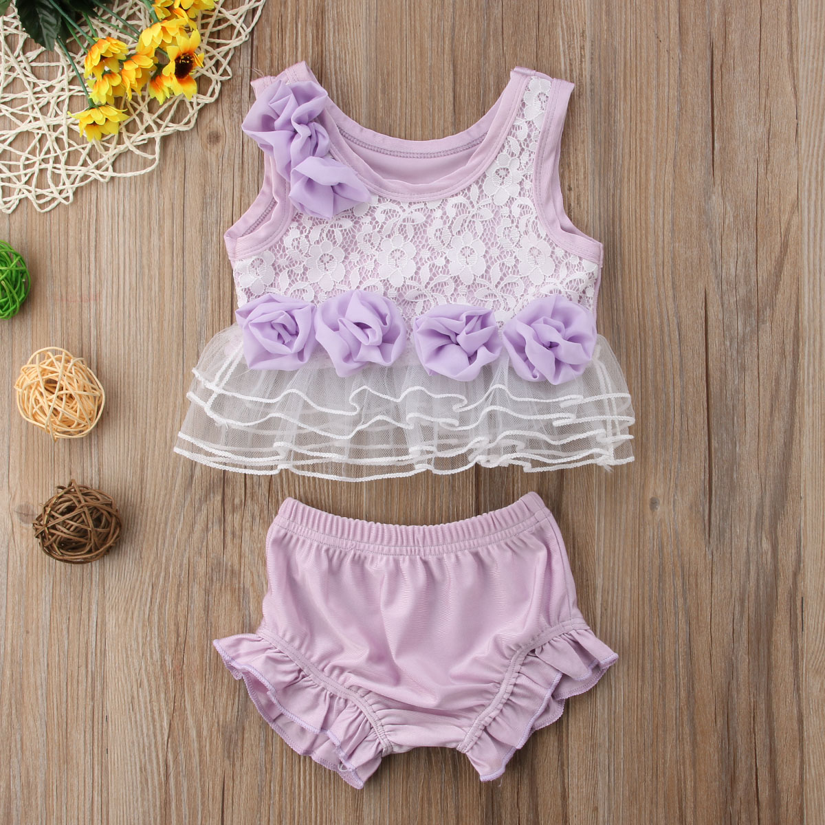 Summer Toddle Infant Baby Girls Clothes 2Pcs Outfits Set Sleeveless Floral Lace Tops Shirts Ruffle Shorts Princess Outfits 0-18M