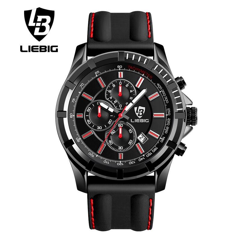 LIEBIG Big Dial Quartz Watches Men Outdoor Sports Watch 50M Waterproof Fashion Casual Calendar Military Wristwatches