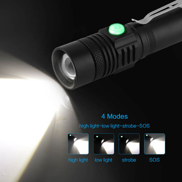 US $7 02 25% OFF|BORUiT C6 XML T6 LED Flashlight 4 Mode Zoomable Torch USB  Rechargeable Flash Light Camping Hunting Lantern by 18650 Battery-in LED