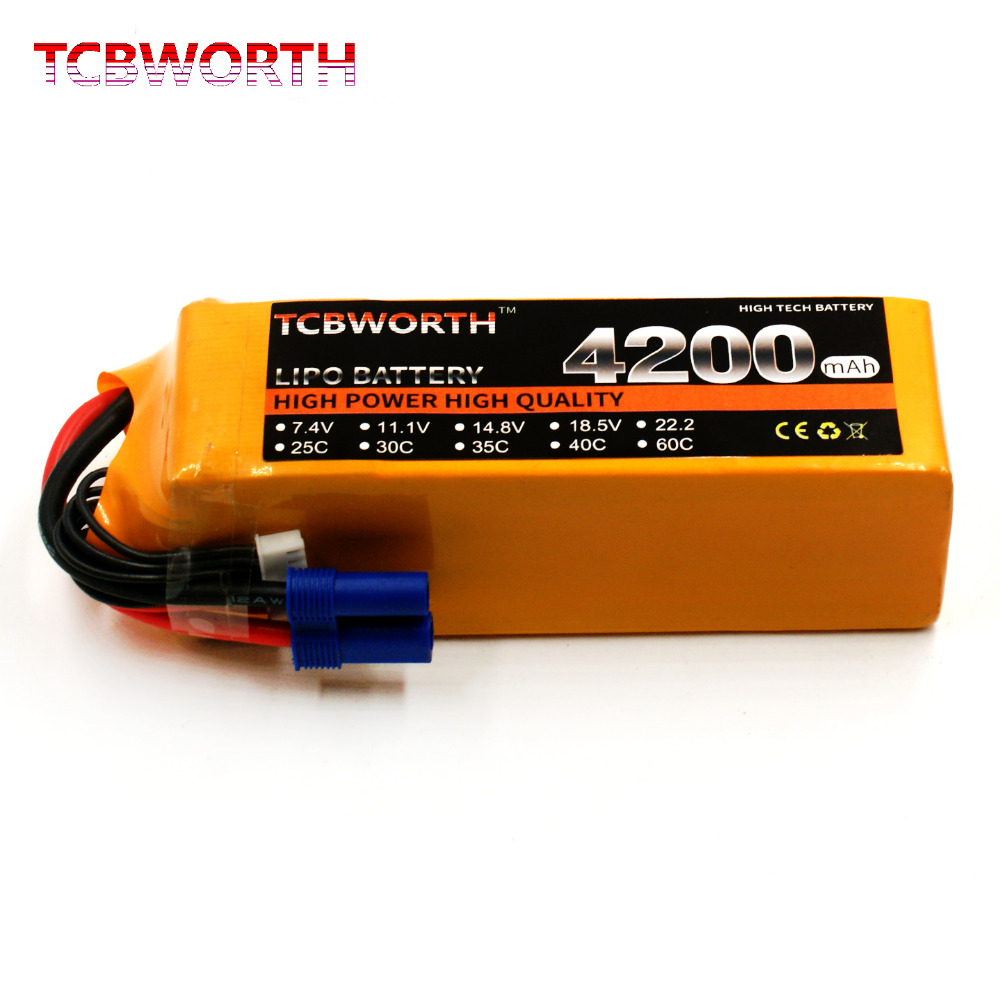 TCBWORTH 6S 22.2V 4200mAh 30C-60C RC Quadrotor LiPo battery For RC Helicopter Drone Airplane Car Boat Li-ion battery tcbworth 11 1v 3300mah 60c 120c 3s rc lipo battery for rc airplane helicopter quadrotor drone car boat truck li ion battery