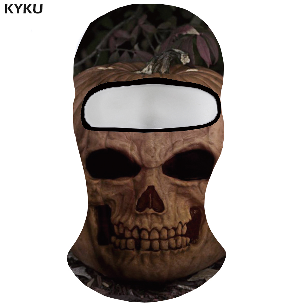 KYKU Halloween   Skullies     Beanies   Men Pumpkin Military Face Harajuku Bicycle Mask Gothic 3d Printed   Beanie   Casquette Hats