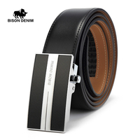 BISON DENIM Black Belts For Men Brand Genuine Leather Cowskin Automatic Buckle Men S Belts Male